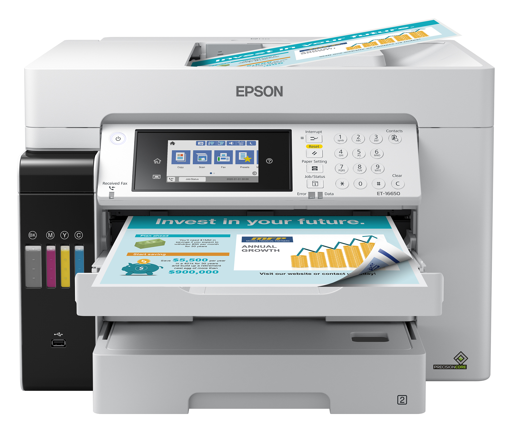 The EcoTank Pro ET-16650 wireless all-in-one printer offers fast cartridge-free printing with easy-to-fill supersized ink tanks, designed for reliable, cost-effective and feature-rich printing up to 13