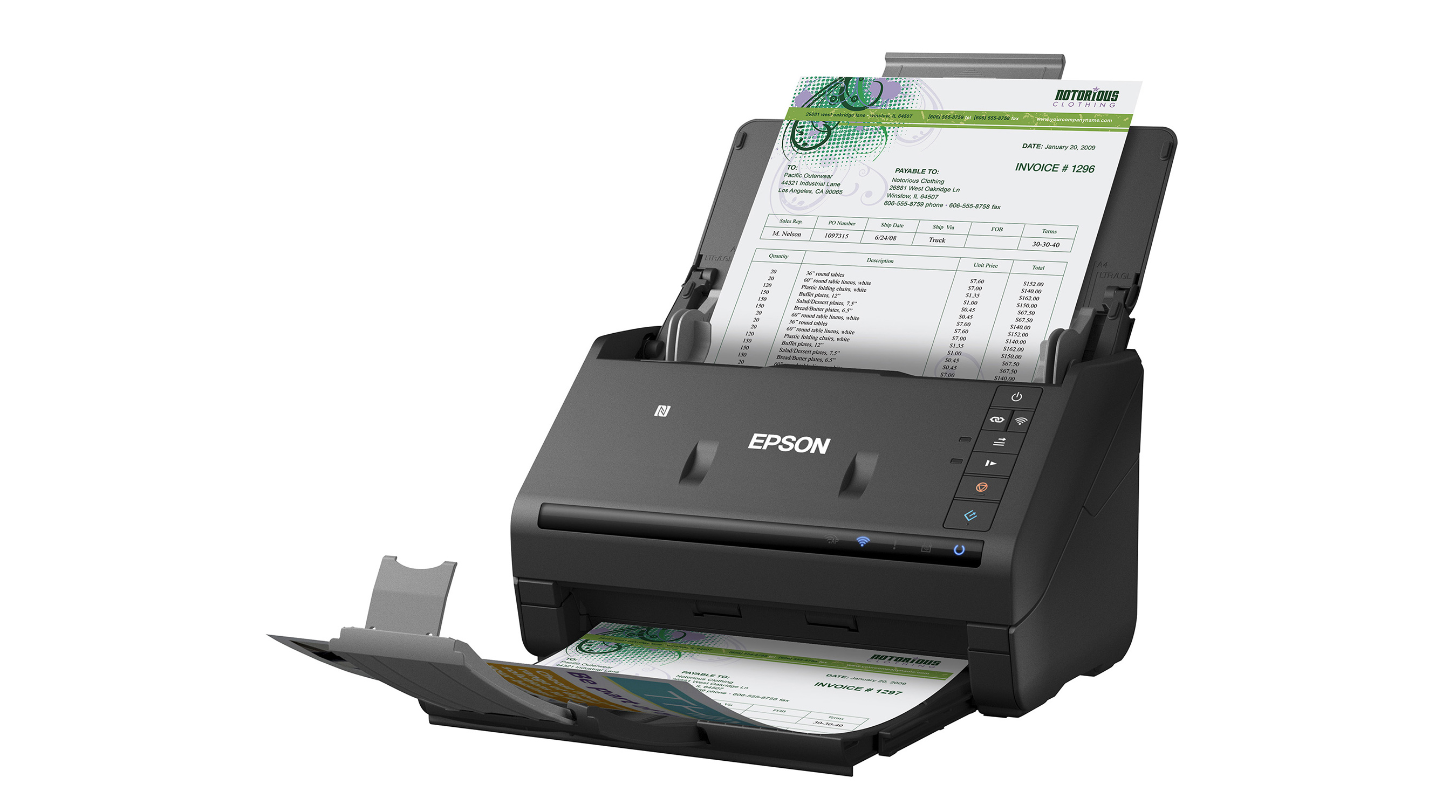 The WorkForce® ES-500WR receipt and document scanner can wirelessly scan various paper documents directly to a smartphone, tablet, computer, and online cloud storage accounts.
