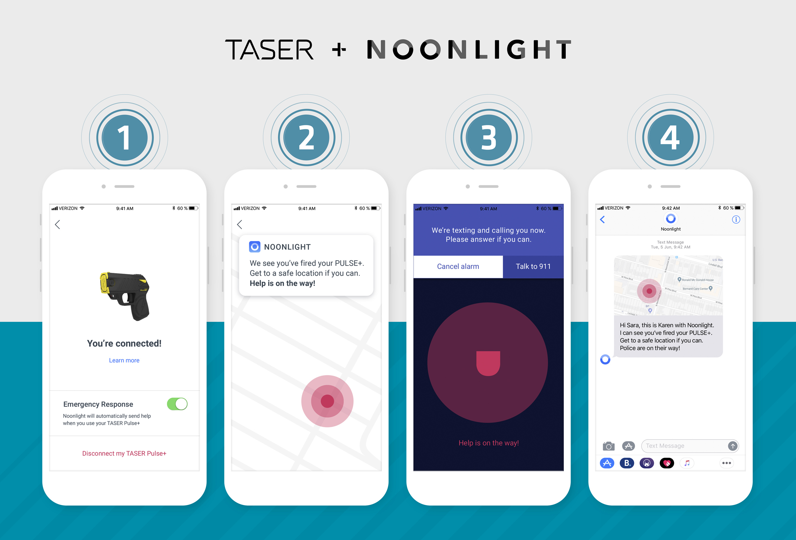 TASER Pulse+ uses the Noonlight app to send police to your location