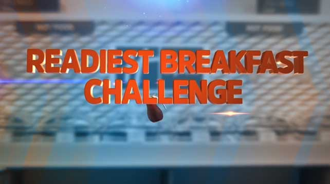 READIEST Breakfast Challenge: Jordan Rodgers, Jesse Palmer and Maria Taylor go-head-to-head in the Holiday Inn Express READIEST Breakfast Challenge to create the ultimate breakfast sandwich.