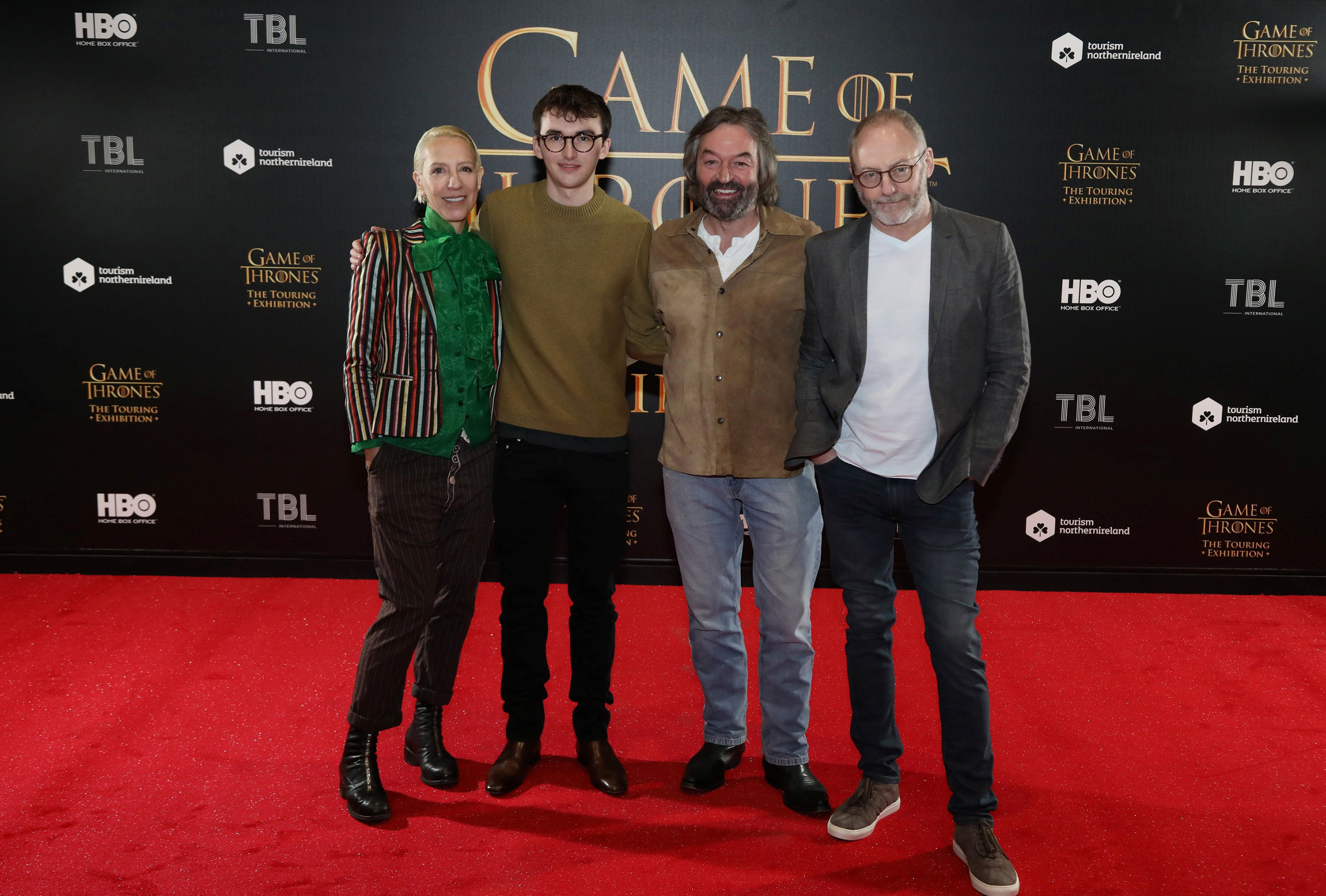 Michele Clapton, Isaac Hempstead Wright, Ian Beattie, Liam Cunningham at GAME OF THRONES™: The Touring Exhibition at TEC in Belfast, Northern Ireland