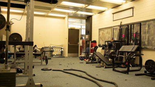 Weight room of Michele Clark High School prior to renovation