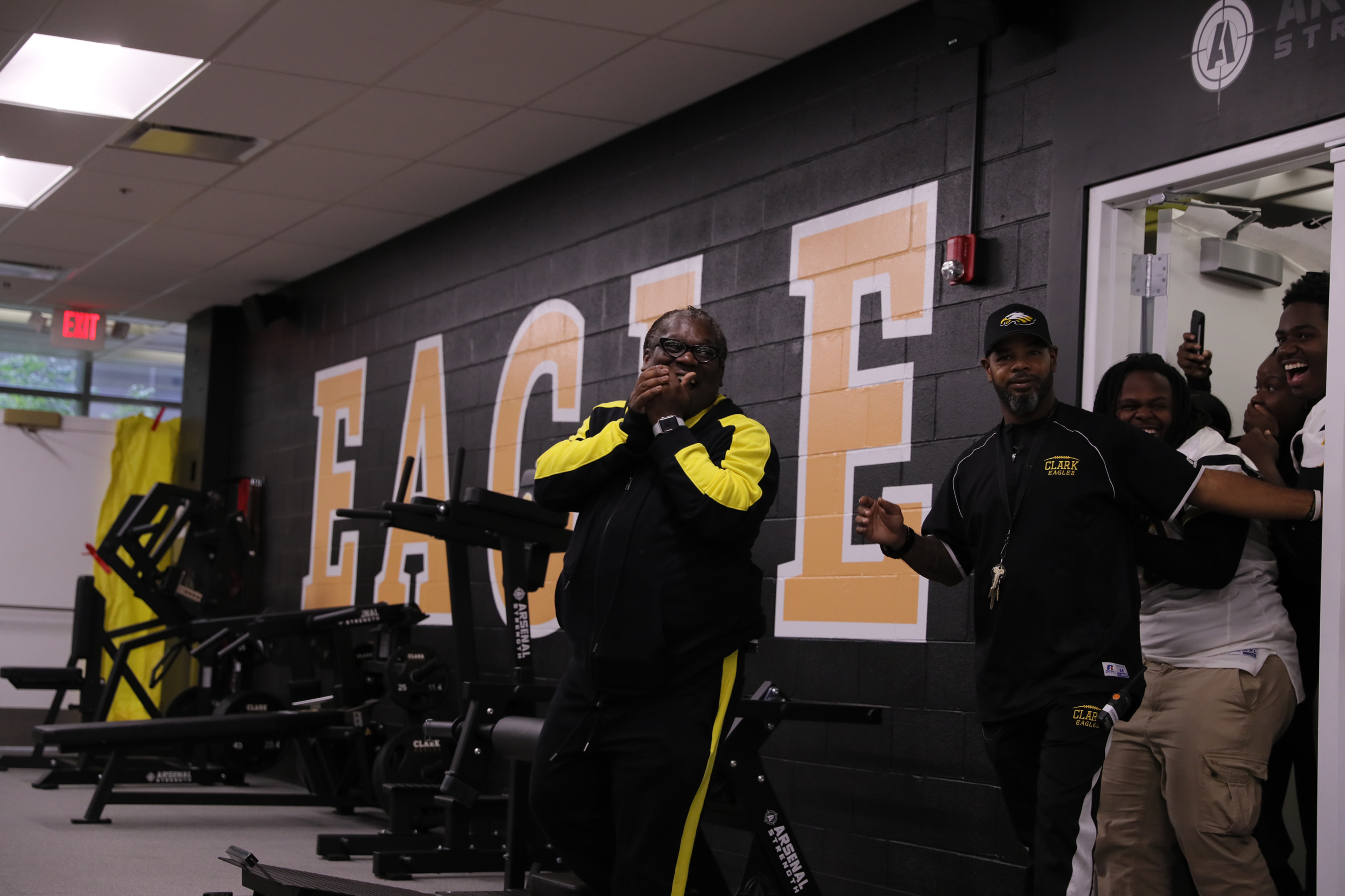 Michele Clark students and principal react to their brand new state-of-the-art weight room