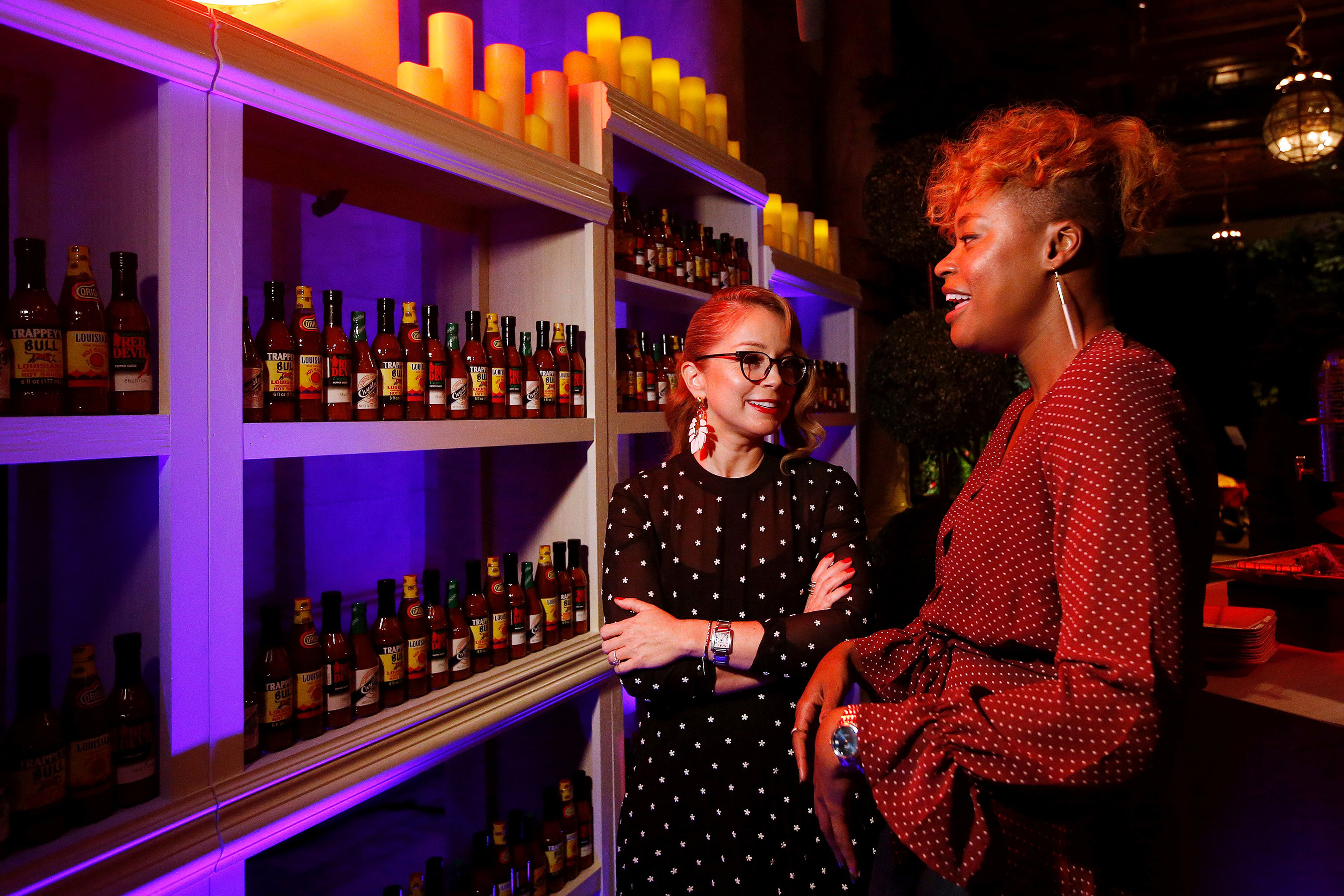 Marcela Valladolid and Noelle Scaggs discuss their upcoming food-filled trip to New Orleans at a launch event for the Purpose Project(SM) by Capital One®, Wednesday, October 24, 2018, in New York. (Jason DeCrow/AP Images for Capital One)