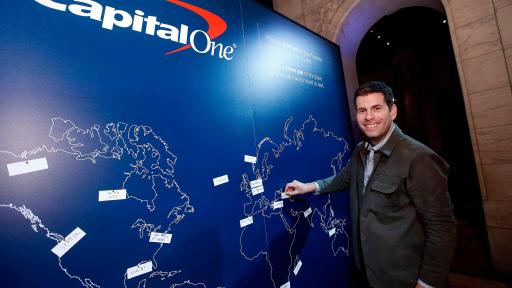 Zach Houghton of Passion Passport pins his most purposeful travel destination at a launch event for the Purpose Project by Capital One®  Wednesday, October 24, 2018, in New York. (Jason DeCrow/AP Images for Capital One)