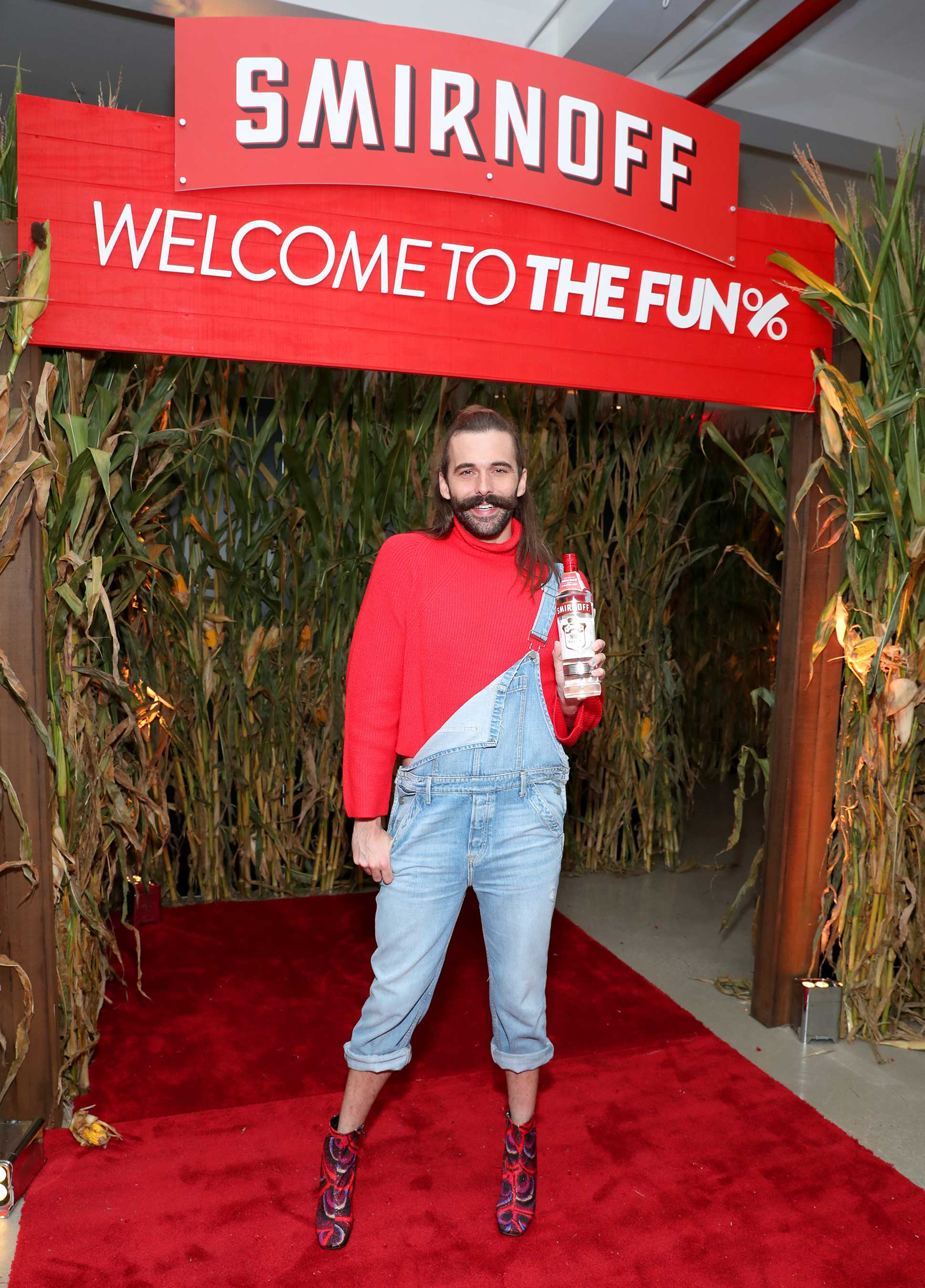 Jonathan Van Ness struts his way through Smirnoff's pop-up corn maze in honor of Smirnoff No. 21 Vodka, now non-GMO. (Photo by Cindy Ord/Getty Images for Smirnoff)