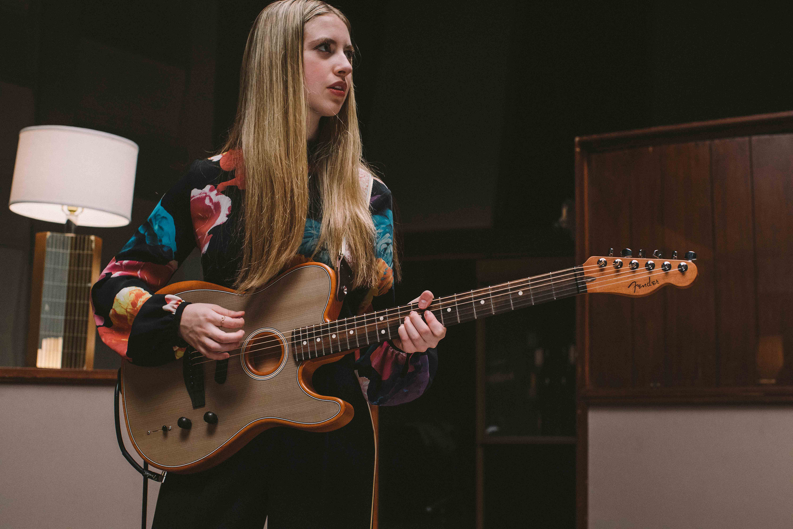 Ayla Tesler-Mabe with American Acoustasonic Telecaster in Sonic Grey
