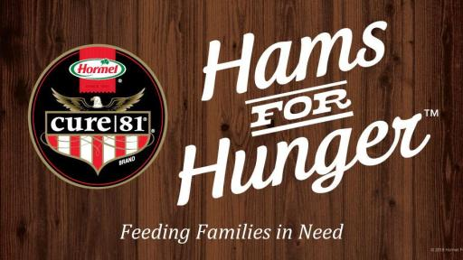 A banner with a wood background that says Hams for Hunger