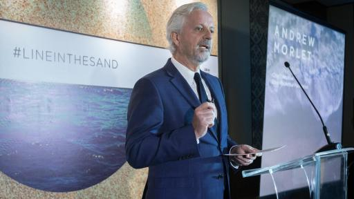 Andrew Morlet, CEO of the Ellen MacArthur Foundation, addresses delegates of the 2018 Our Ocean conference on Monday 29 Oct, 2018 in Bali, Indonesia during signing of the New Plastic Economy Global Commitment. (Graham Crouch/AP Photography for SC Johnson)