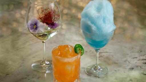 Specialty drinks from CATCH Las Vegas including the Gin & Tonic, East-Coast Kali, and CATCH 22