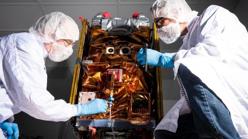 Aerospace built the small satellite for NASA's Green Propellant Infusion Mission (GPIM); here Ball engineers prepare GPIM for shipment to the launch site in Florida