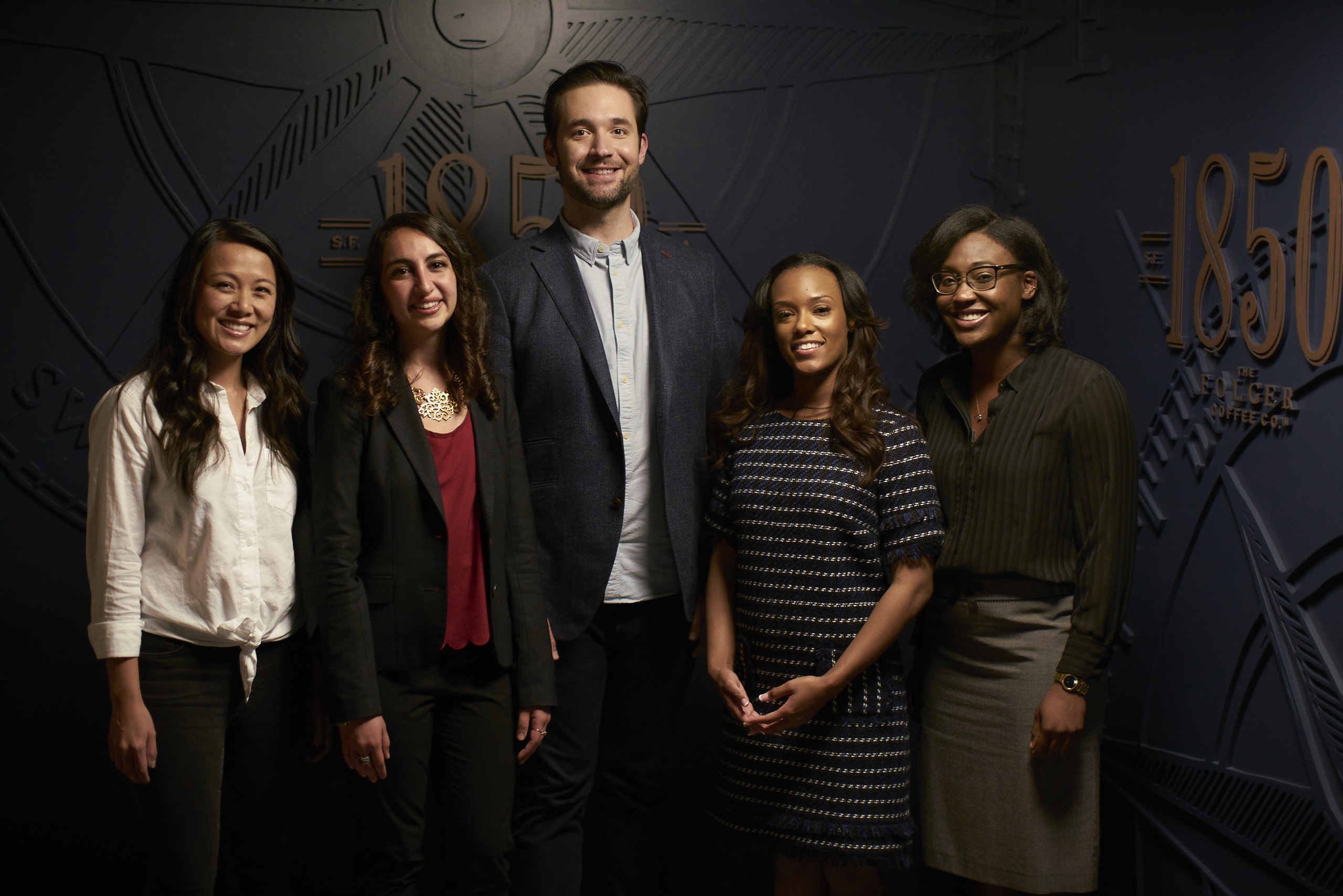 The young, ambitious finalists of the 1850™ Brand Coffee Bold Pioneer Contest (left to right) Alice Kittrell, Soraya Fouladi, Jordan Wilson and Wen-kuni Ceant met with Alexis Ohanian, Initialized Capital and Reddit co-founder, and spokesperson to 1850™ Brand Coffee, for one-on-one mentoring sessions to talk through their bold ideas and address their unique business challenges.