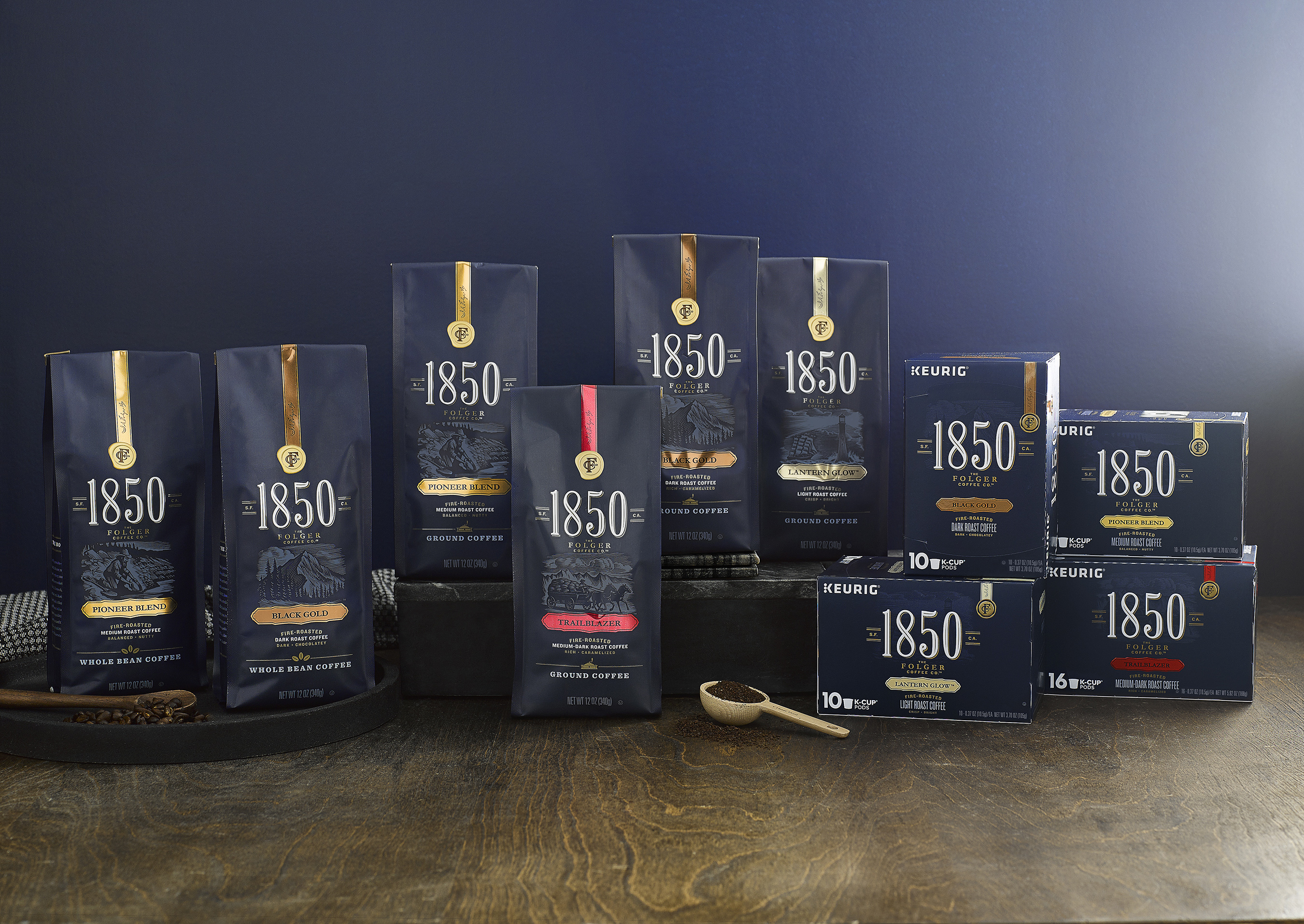 1850™ Brand Coffee is available in Ground, Whole-Bean and K-Cup® Pods in four unique blends: Black Gold, Trailblazer, Pioneer Blend and Lantern Glow™, and three Ready-to-Drink flavors: Sweet Cream, Mocha and Vanilla.