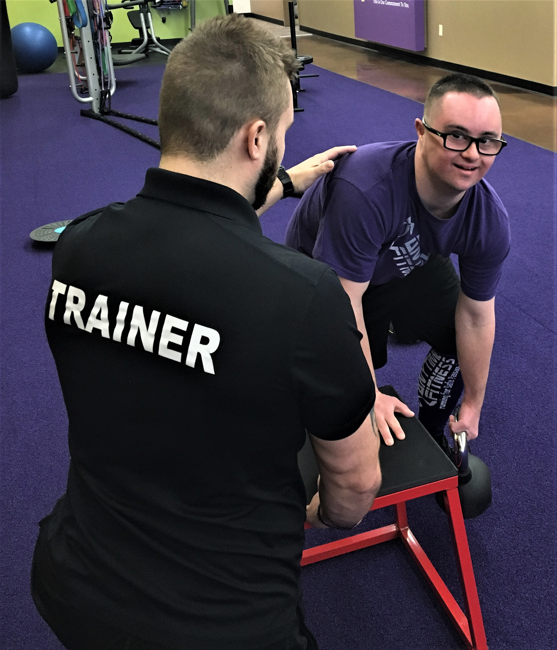 Cole Calvert trains at Anytime Fitness in Bellbrook, OH. Cole also plays on the Montgomery County Cougars Special Olympics Basketball Team.