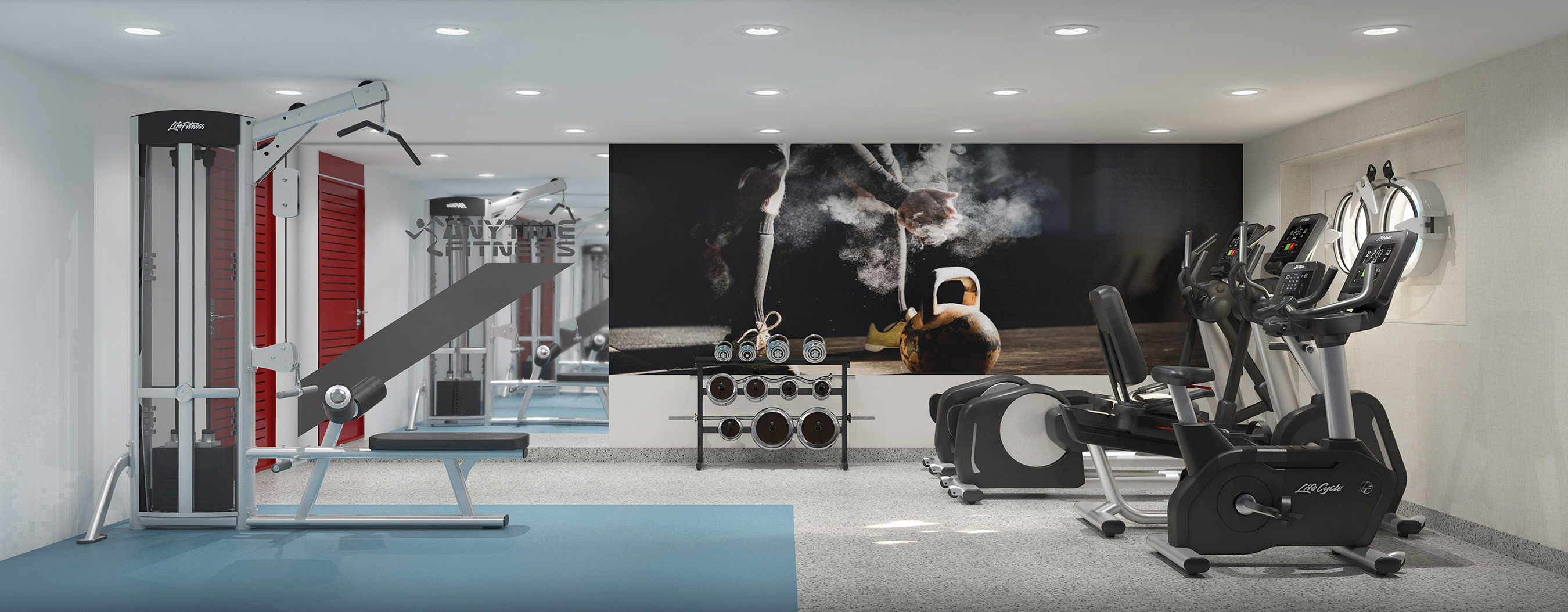 Life Fitness will provide all the exercise equipment for the Anytime Fitness gym onboard the Magellan Explorer: state-of-the-art cardio and resistance machines, and free weights.