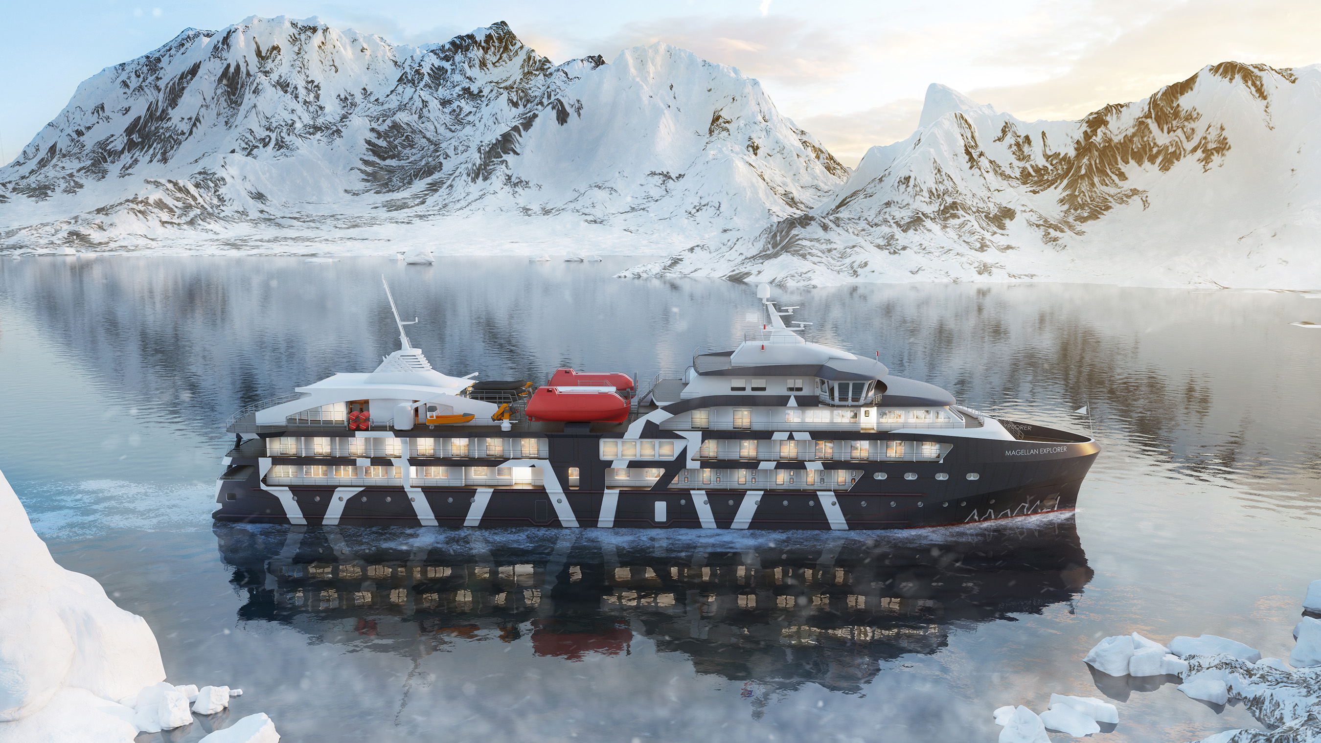 The Magellan Explorer, Antarctica21's newest ship, is a luxury expedition vessel, custom built in Chile for Antarctic air-cruises - and equipped with an Anytime Fitness gym onboard!