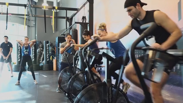 Basecamp improves strength while increasing cardio performance by alternating 60-second bursts of strength-training exercises with 60-seconds on a stationary assault bike.