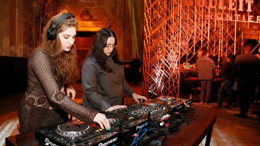 Club Chai DJs Foozool (L) and 8ulentina (R)   perform at the Bulleit 3D Printed Frontier Launch at 16th Street Station on December 6, 2018 in Oakland, California. (Photo by Kimberly White/Getty Images for Bulleit Frontier Whiskey)