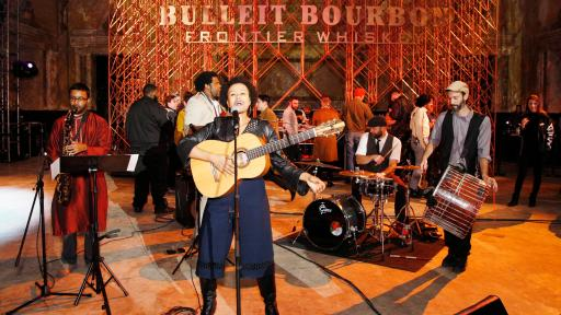 Meklit Hadero performs at the Bulleit 3D Printed Frontier launch at 16th Street Station on December 6, 2018 in Oakland, California. (Photo by Kimberly White/Getty Images for Bulleit Frontier Whiskey)