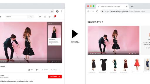 How a YouTube video links to the page on ShopStyle website.