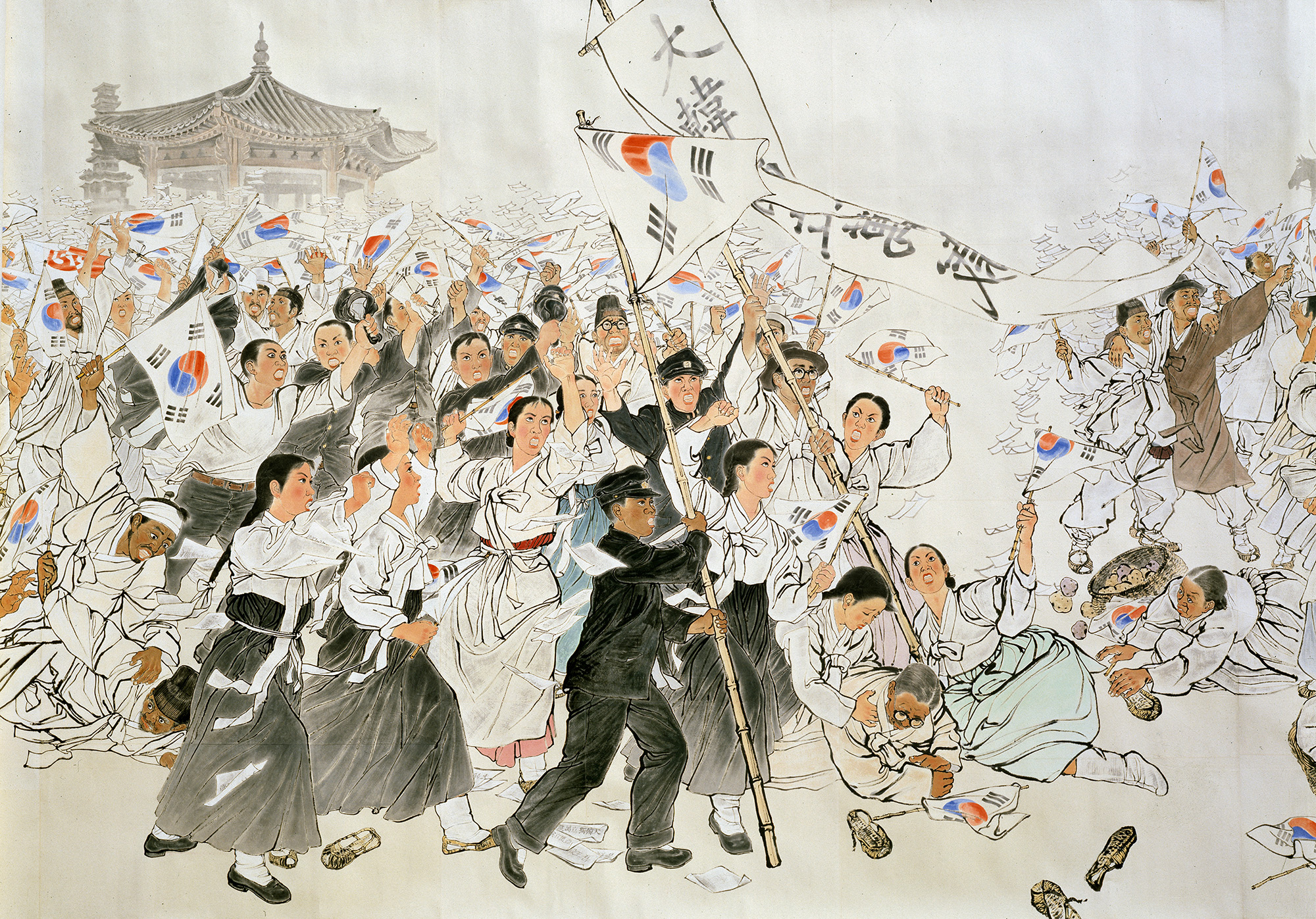 Feature piece of the Looking Back at the Independence Movement of Korea Exhibition. (Suh Se-ok. The March 1st Independence Movement (detail). Korea, 1986. Ink and color. 776.6 x 127.2 in)