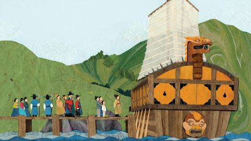 Illustration of people waiting to board the Turtle ship