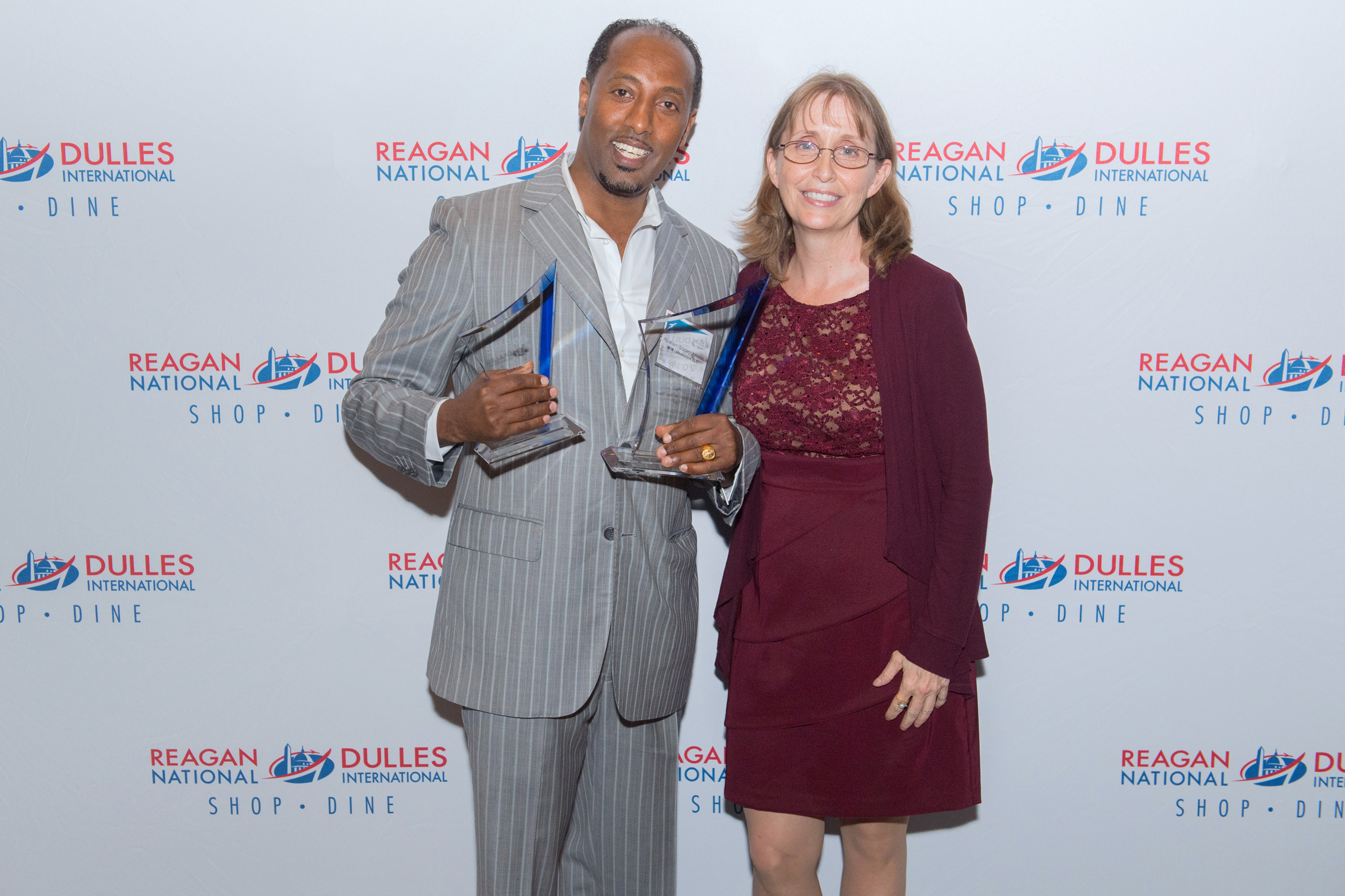 (Left to Right) Abraham Woldeyohannes, General Manager or Five Guys Burgers and Fries and Jane Mellenkamp, General Manager of MarketPlace Development at Dulles International Airport