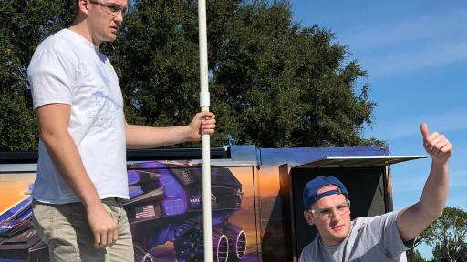 Brigham Young University students prepare to launch their rocket