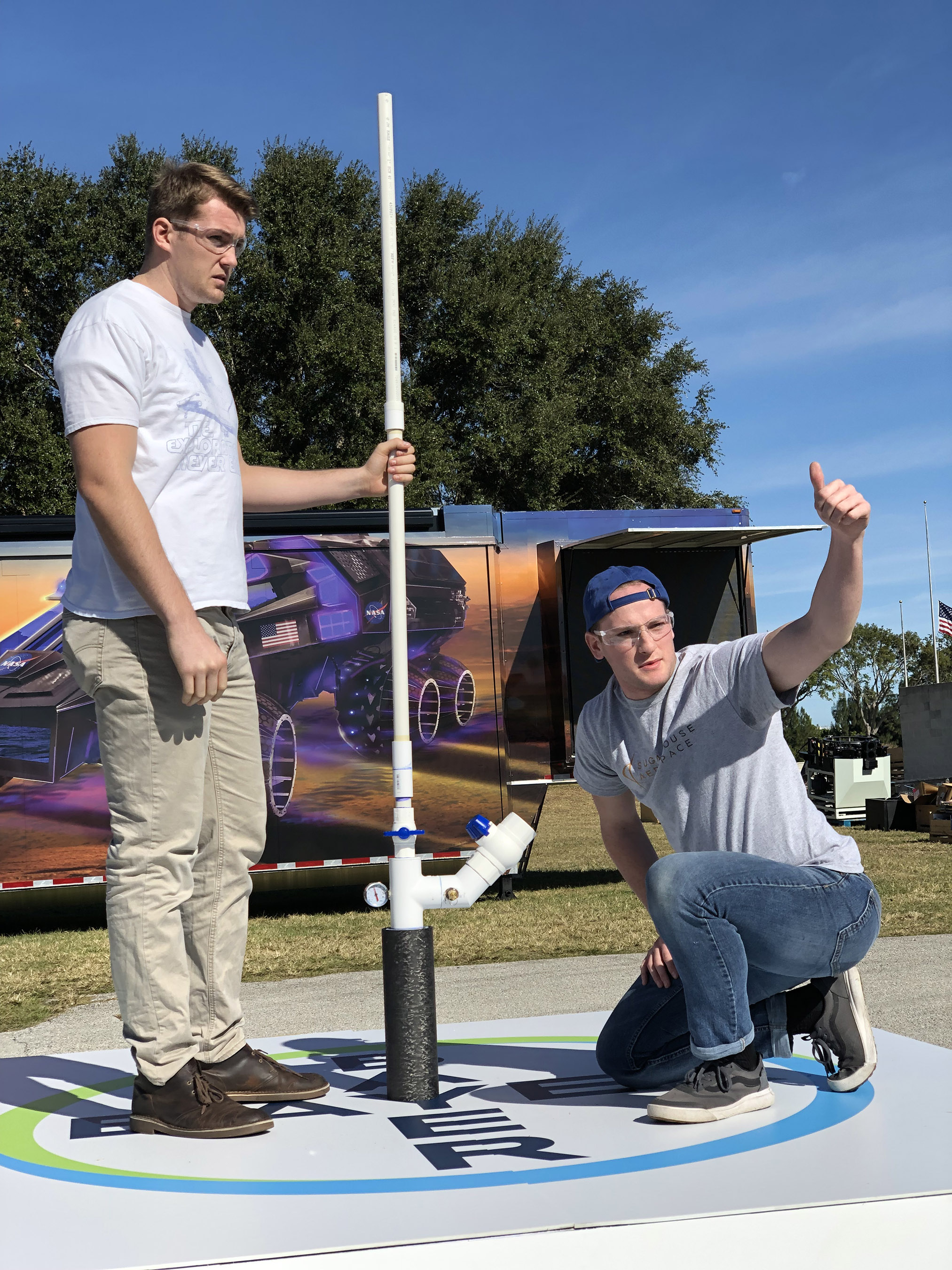 Brigham Young University students prepare to launch their rocket at the 2018 Bayer Alka-Rocket Challenge.
