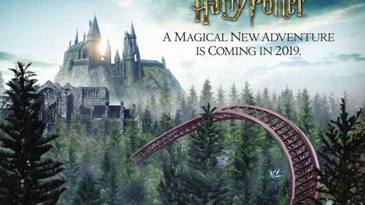 An illustrated poster of a Harry Potter themed roller coaster ride.
