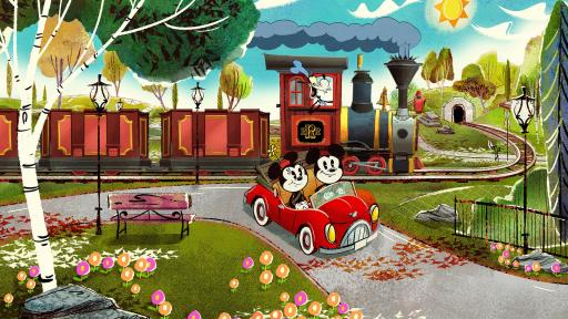 Artist illustration of a train being driven by Disney character Goofy, and Micky and Minnie Mouse driving a car.