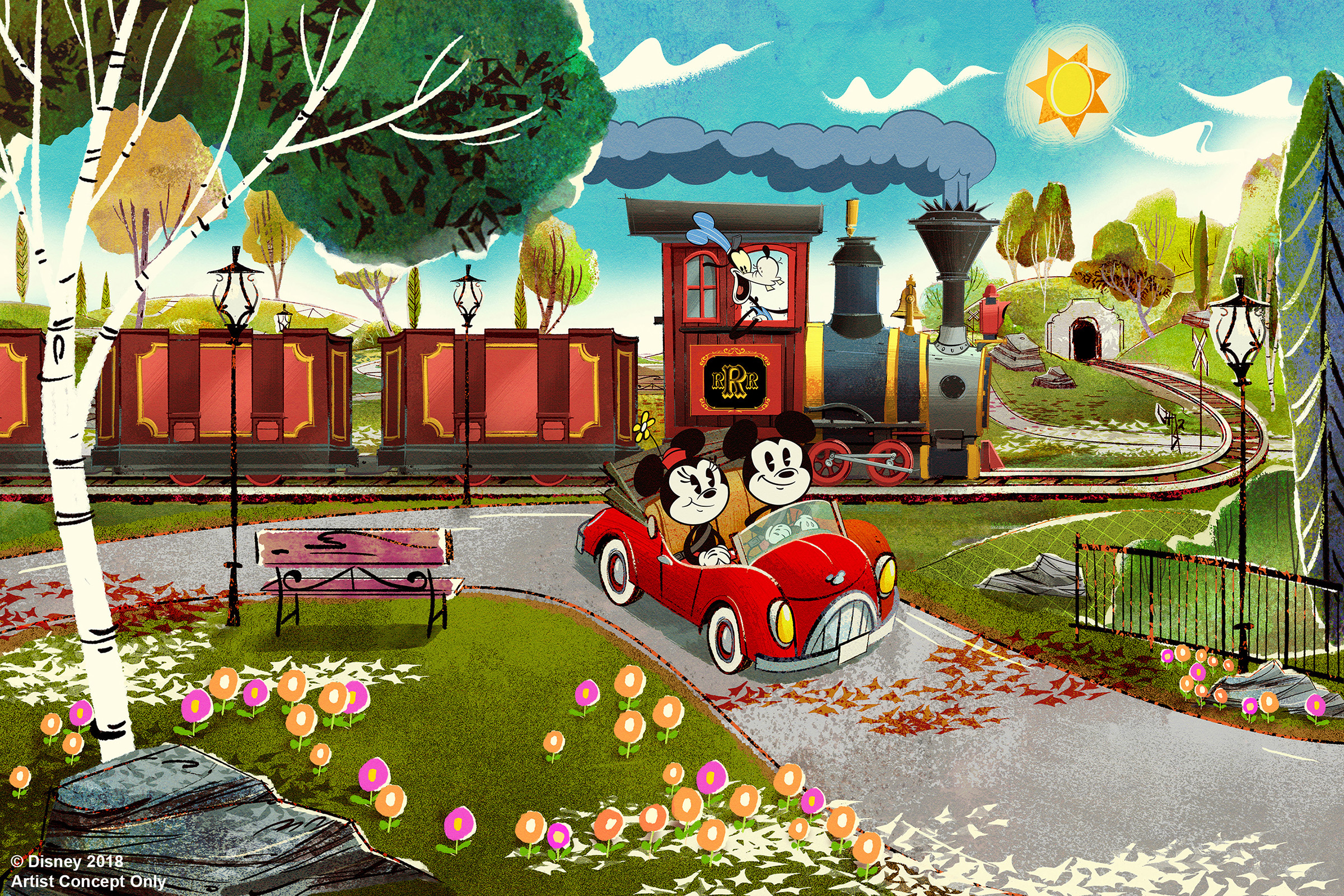 "Guests will enter the world of ""Mickey Mouse"" cartoon shorts using new technologies to bring the flat cartoon world to life in this new ride at Disney's Hollywood Studios."