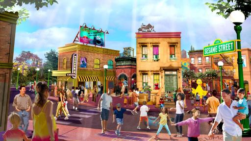 Artistic rendering of Sesame Street with people on a city street with various Sesame Street characters.