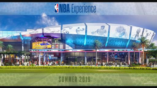 Artistic rendering for the NBA Experience building.