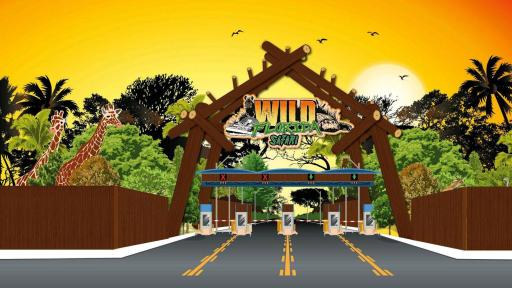 Artist rendering of park entry depicting a wooden fence with various wil animals peeking above, and an entry for cars.