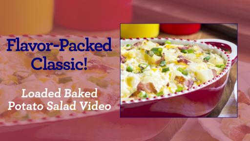 "Banner that says ""Flavor-Packed Classic!"" beside and image of a backed potato salad."