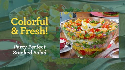 Banner that says Color and Fresh, beside an image of a glass bowl with layered salad ingredients.