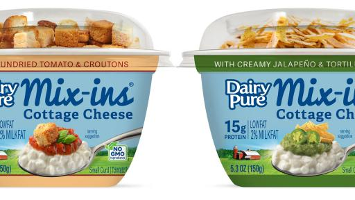DairyPure Mix-ins savory flavors; Creamy Jalapeño & Tortilla Strips and Sundried Tomato & Croutons