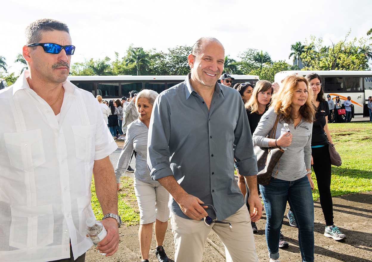 Howard Lutnick, Cantor Fitzgerald Chairman & CEO, arrives at the Roberto Clemente Coliseum ahead of the Cantor Fitzgerald Relief Fund's Puerto Rico Family Relief Program.