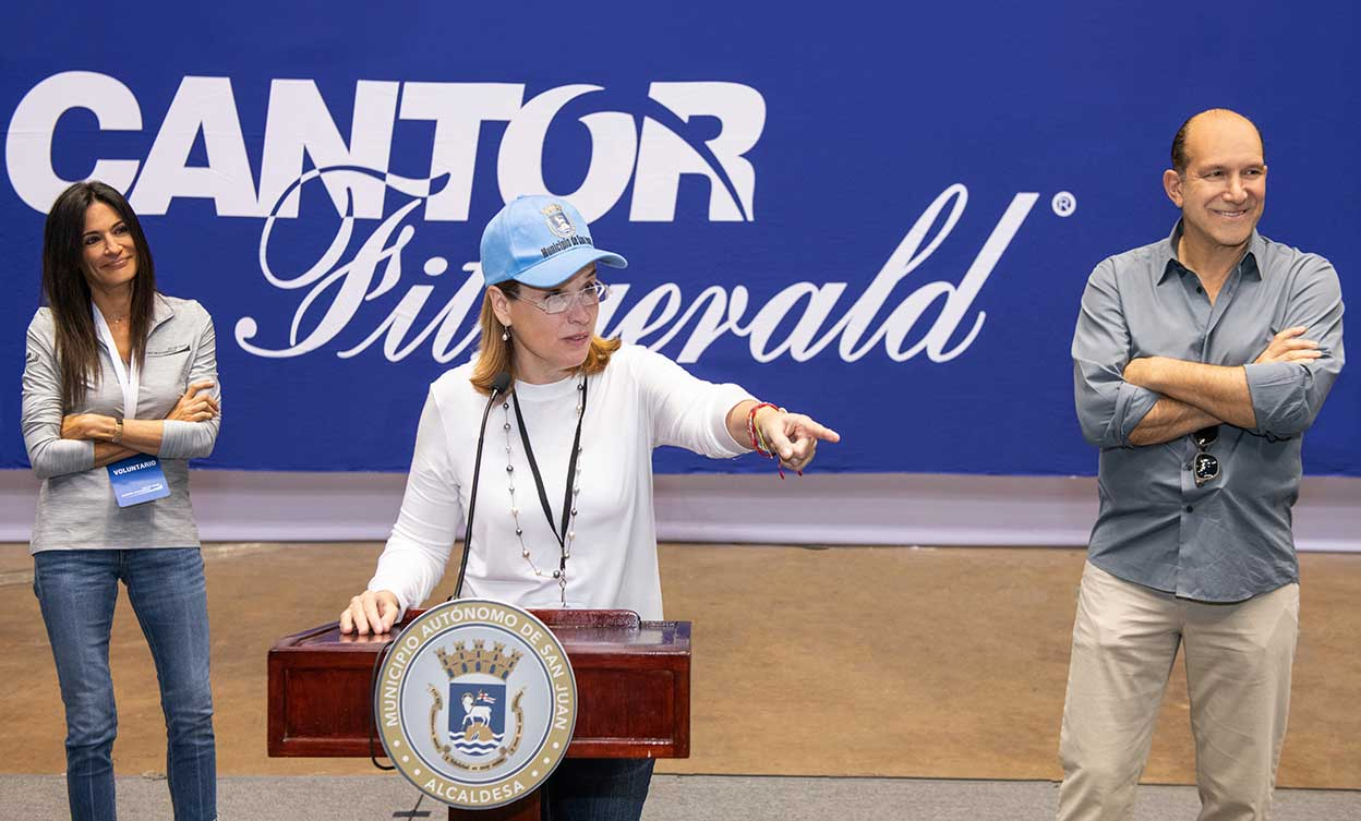 Carmen Yulin Cruz, San Juan Mayor, addresses volunteers at the Puerto Rico Family Relief Program hosted by the Cantor Fitzgerald Relief Fund.