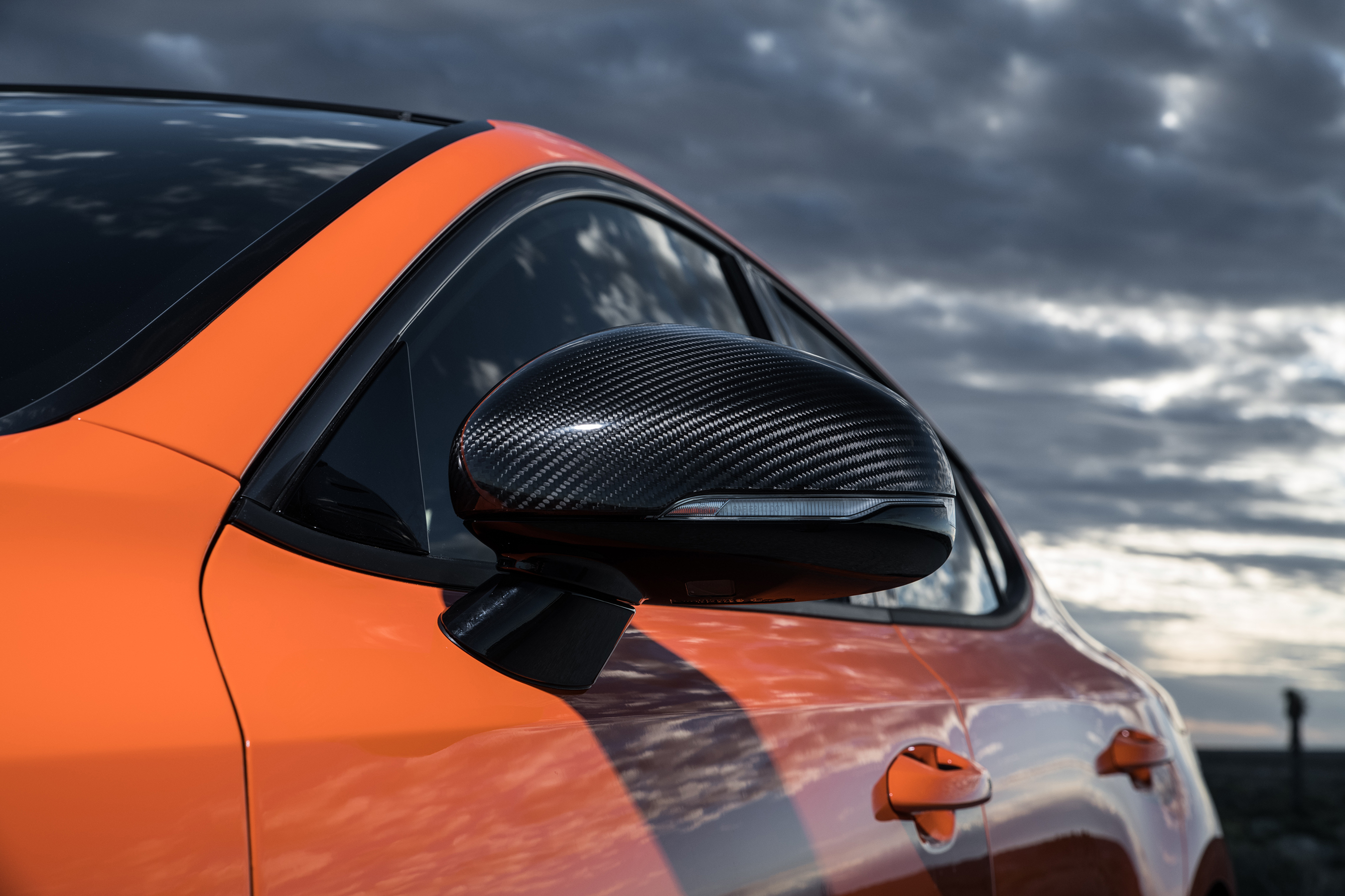 "Stinger GTS' sport-inspired styling elements including genuine carbon fiber parts and exclusive ""Federation"" bright orange paint color command even more attention."