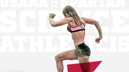A muscular woman running uphill with text that says Push Your Limits