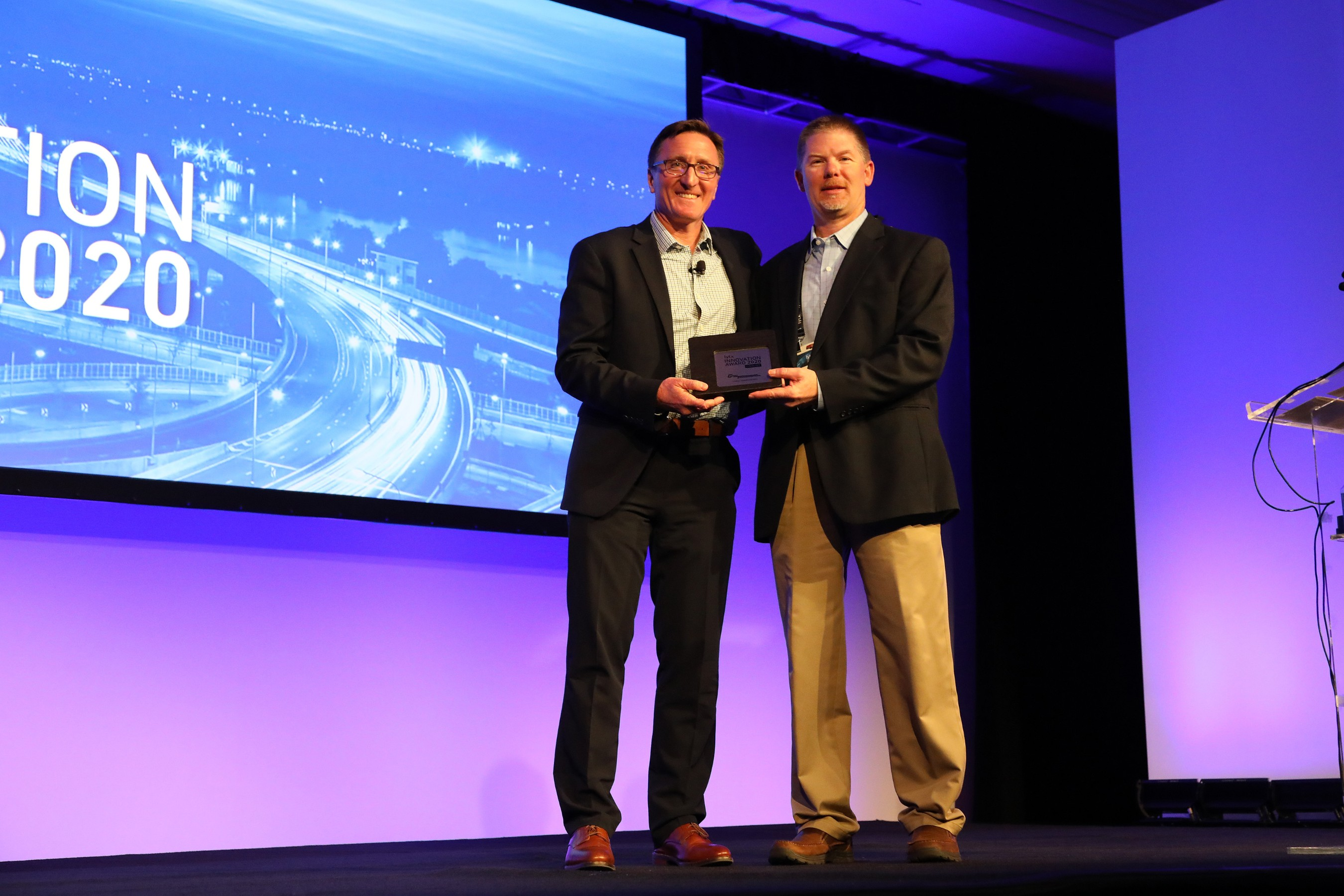 Jerry Sigmon, Jr., Chief Operating Officer, Cargo Transporters, recognized as a finalist in the 2020 Lytx Innovation Awards by Dave Riordan, Lytx EVP and Chief Client Officer.