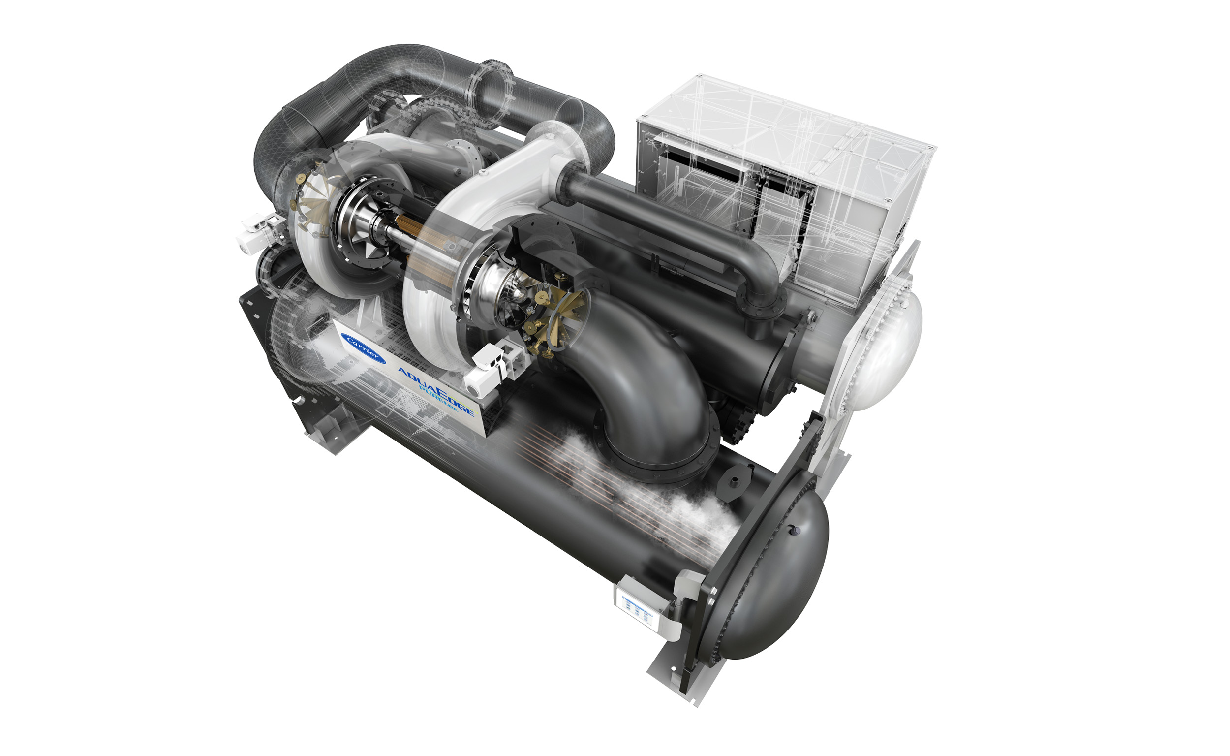 The 19DV is the most environmentally responsible chiller Carrier has ever made. That's due to world-class efficiency and the use of the ultra-low GWP refrigerant R-1233zd(E).