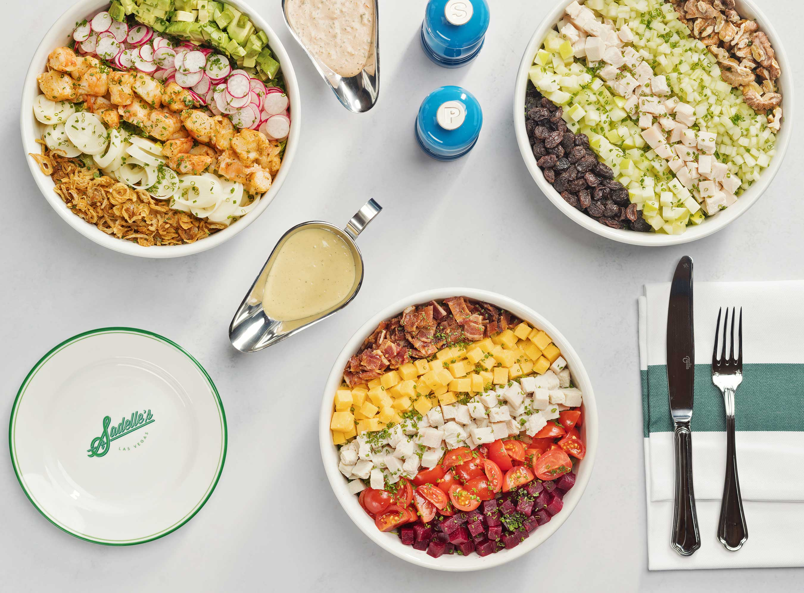 Sadelle's Chopped Salads: Freddy, Beverly and Waldorf