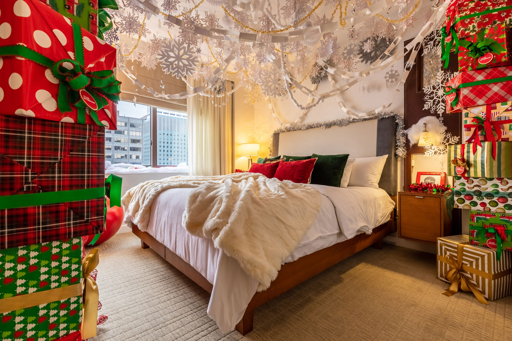 Paper snowflakes. Popcorn garlands. Tons of presents. It's like sleeping under the tree on Christmas Eve