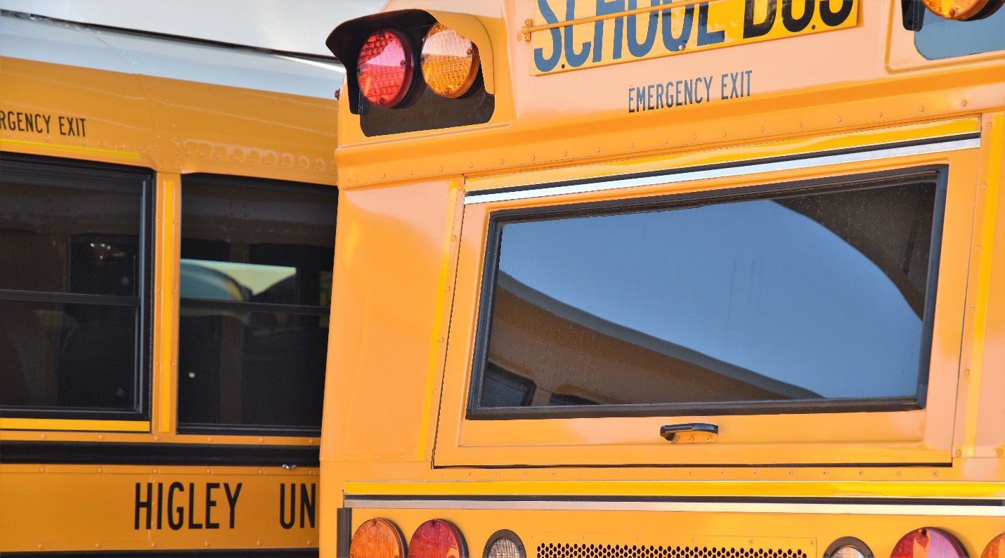 """School buses in Higley, Arizona are equipped with the """"Here Comes the Bus"""" technology."""
