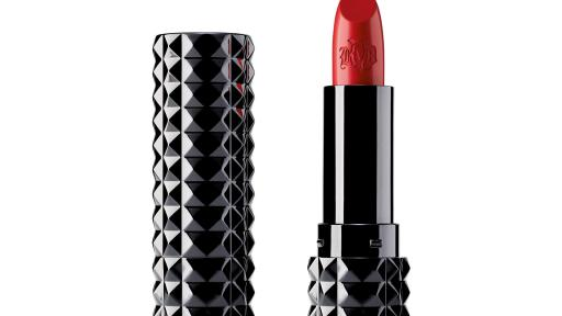 Kat Von D Beauty's creamy, unbelievably pigmented, Studded Kiss Crème in Outlaw (satin-matte brick red) is featured in the 2019 Sephora Birthday Gift mini-set. Full size shown.