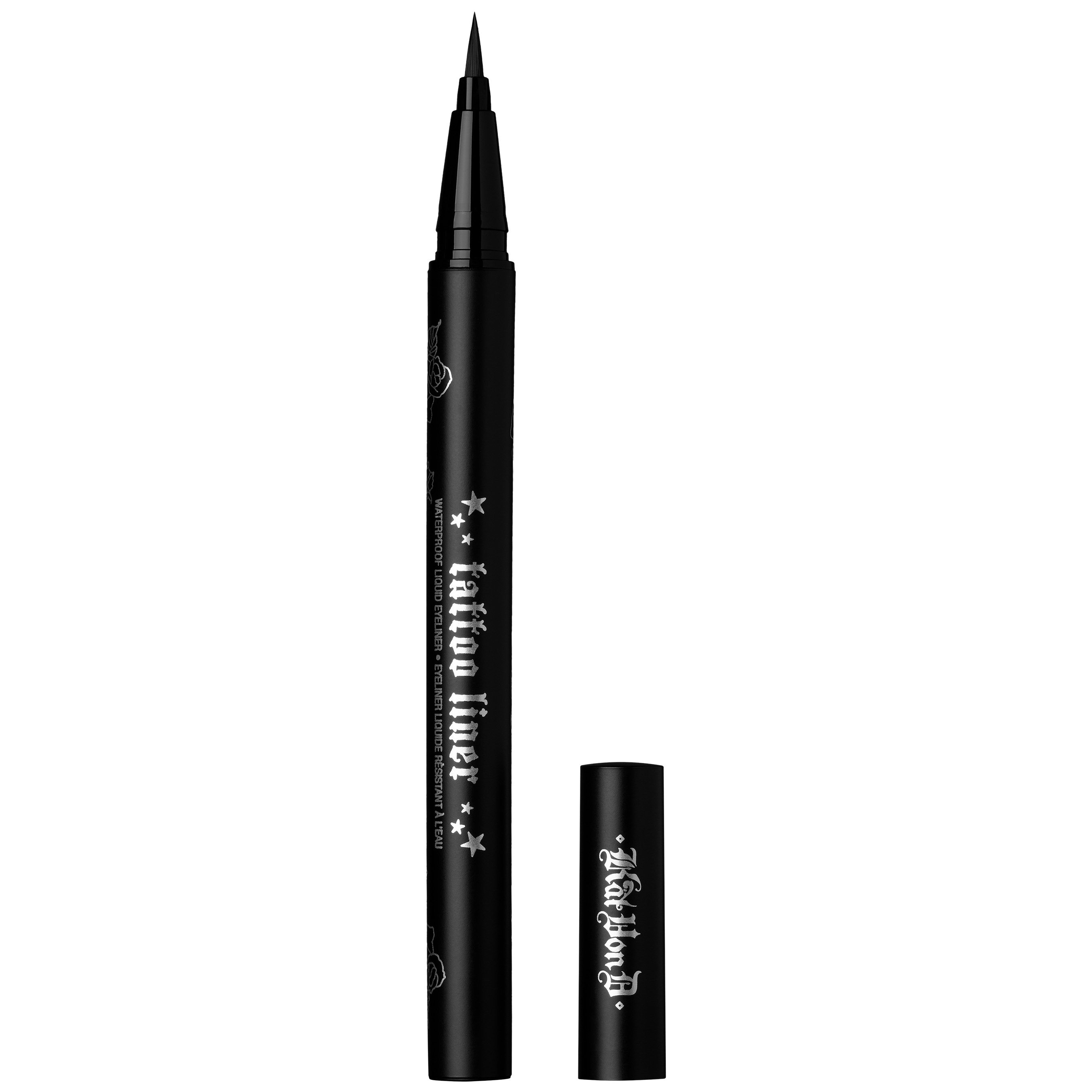 Kat Von D Beauty's best-selling and award winning Tattoo Liner in Trooper Black is featured in the 2019 Sephora Birthday Gift mini-set. Full size shown.