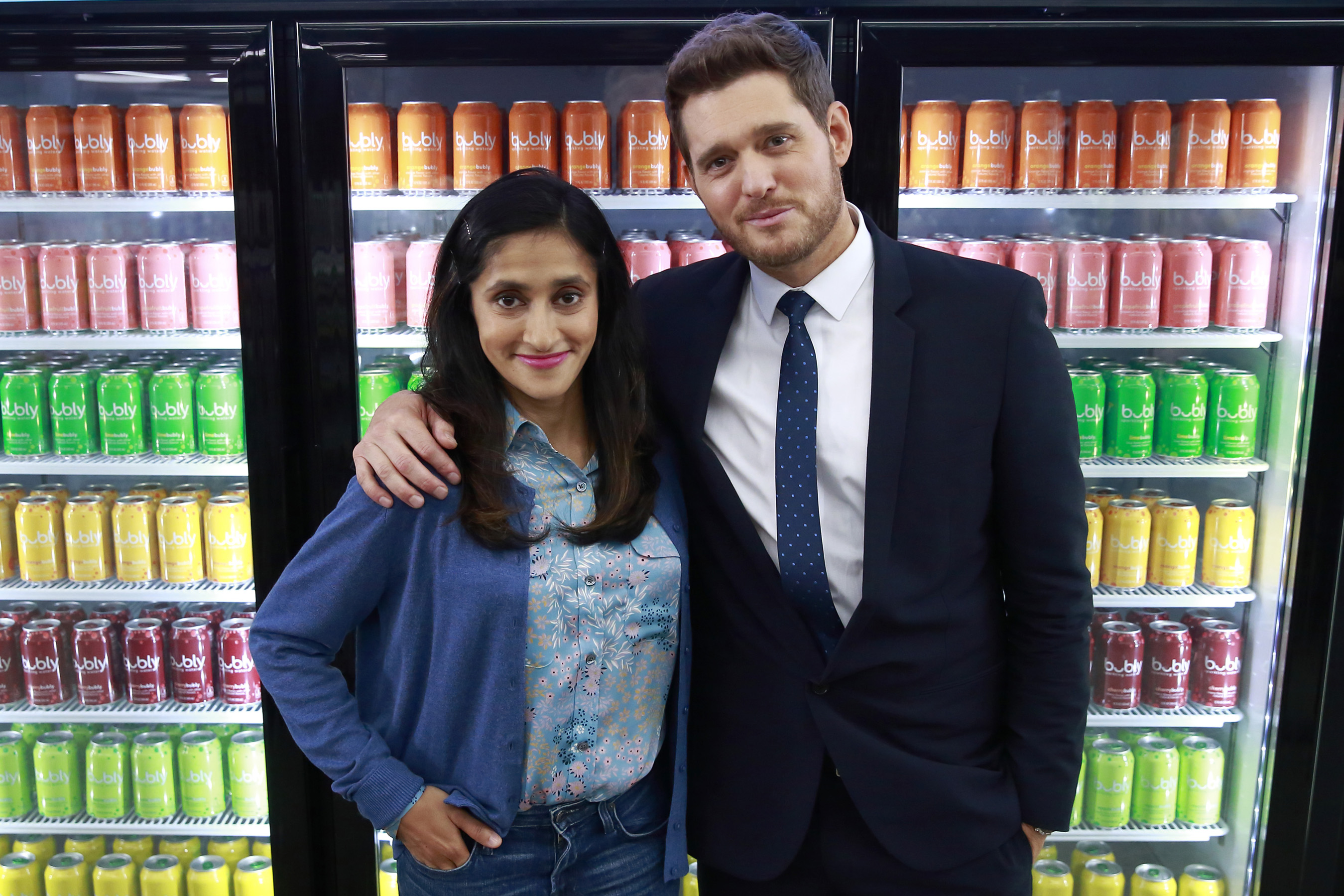 Aparna Nancherla tries to convince Michael Bublé that it is in fact bubbly